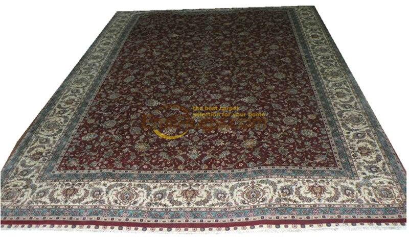 Laine ou soie persan fait à la main Crochet Antique décor plancher pour chambre naturelle mouton laine Antique tapis