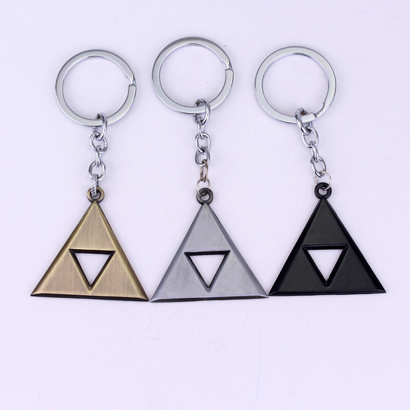 HANCHANG Jewelry Anime Game Legend Of Zelda Keychain Jewelry Triangle Pendant Key Chain Ring Car Accessories Game Fans Gifts