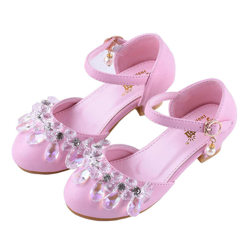 17710dd723fd00 Girls Spring Summer Sandals Princess Crystal Shoes PU Leather Rhinestone  Cinderella Dress Shoes Party Wedding Kids