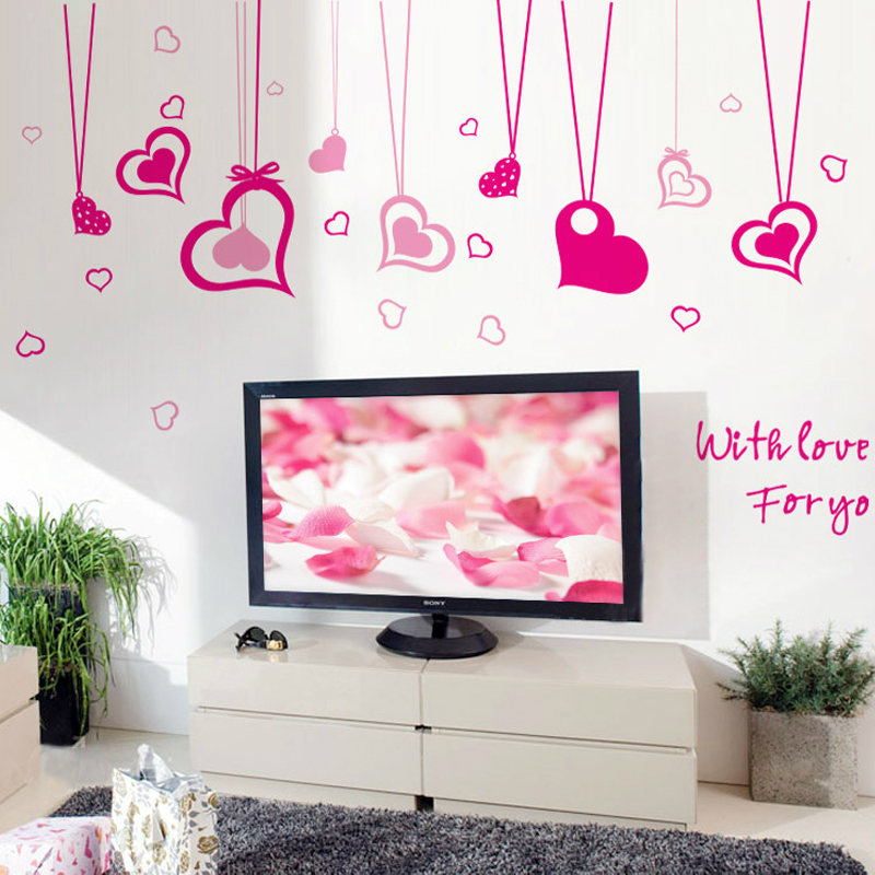 Flying Colors Of The Removable Stickers Bedroom Wall Pink Cute Real Love Curtain In From Home Garden On