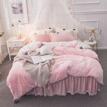 New Pink Gray Fleece Fabric Berber Girl Bedding Set Soft Velvet Flannel Duvet Cover Bed Skirt sheet/Linen Pillowcases