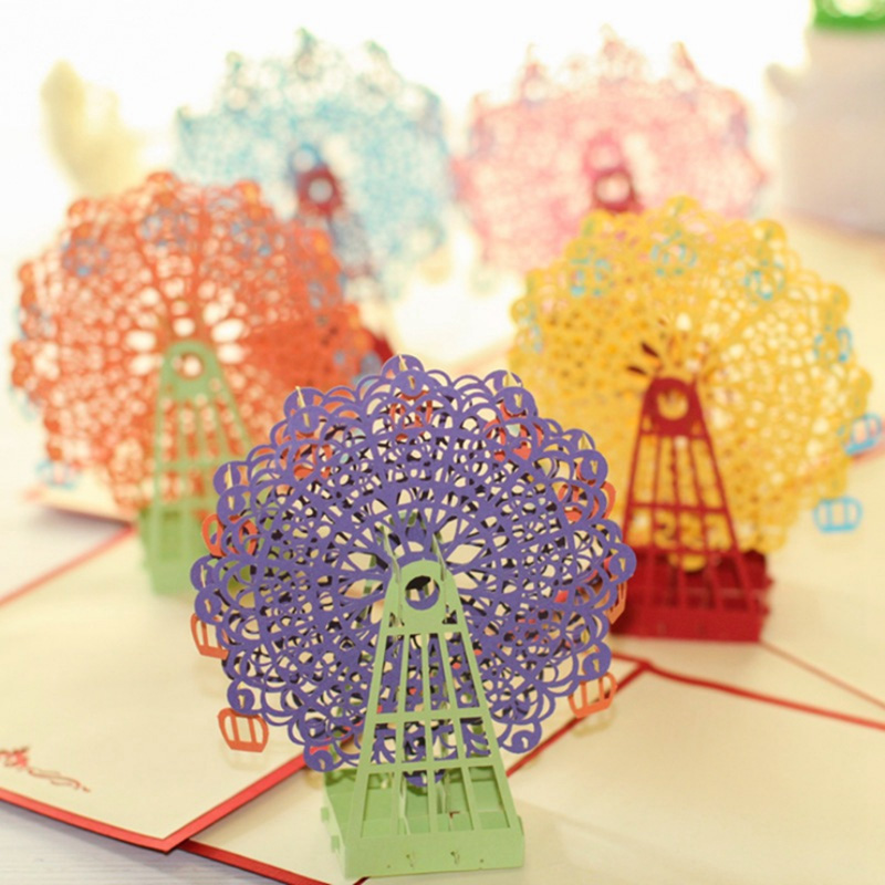 Kawaii Handmade 3D Ferris Wheel Origami 3D Pop Up Paper Laser Cut Vintage Post Cards Greeting Cards Happy Birthday Gifts Kraft origami