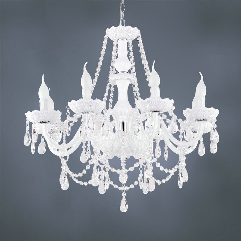 White color modern k9 crystal chandelier lustres de cristal home decoration lighting fixture for living room dinning room