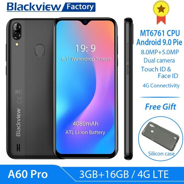 """Blackview A60 פרו 4080mAh Smartphone 6.088 """"ואטארדרוף נייד טלפון אנדרואיד 9.0 3GB זיכרון RAM כפולה אחורי מצלמה 4G LTE"""
