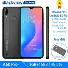 "Blackview A60 Pro 4080mAh Smartphone 6.088 ""su damlası cep telefonu Android 9.0 3GB RAM çift arka kamera 4G LTE"