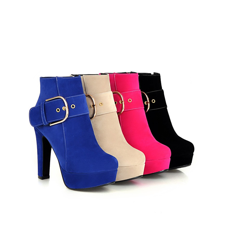 Morazora Plus Size 34 43 Women Shoes Fashion Punk High Heels Boots Flock Solid Zip Platform Ankle Boots For Women Round Toe by Morazora