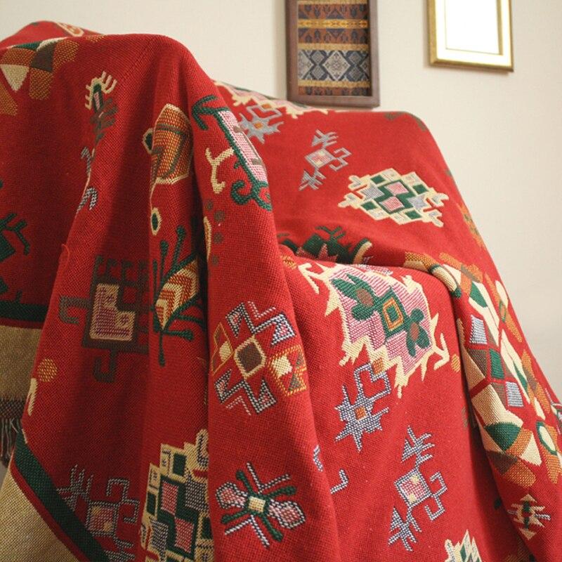 ESSIE HOME Sofa Blanket Red Kilim Carpet Sofa Living Room Bedroom Rug Turkish Anatolia Double Side