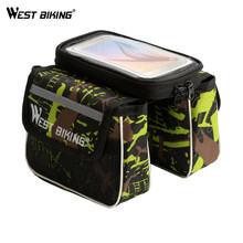 WEST BIKING 5.5 Inch Bicycle Frame Bag Cycling Pannier Smartphone Phone Touch Screen Cycling Front Tube Bike Bag with Rain Cover(China)