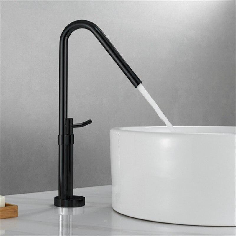 Смесители для ванной бассейна латунный Смеситель для горячей и холодной раковины кран с одной ручкой на бортике черный/хром вращающийся Ту...