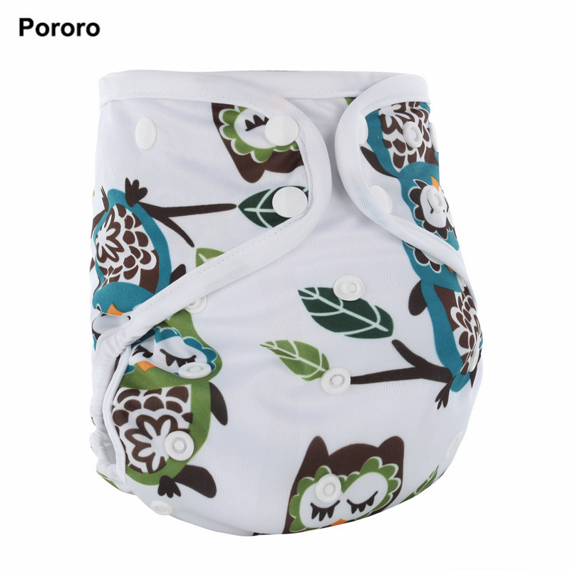 PORORO All In One Baby Cloth Diaper With Bamboo Inserts, Waterproof PUL AIO Size Adjustable Nappies With White Color Binding