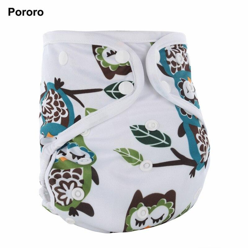 PORORO tutto in un bambino pannolino del panno con inserti in bambù, formato impermeabile PUL AIO pannolini regolabili con il colore bianco vincolante