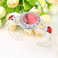 Special Holiday Gift Fire Round Rhodocrosite Red Quartz Siver Plated Open Bangles Russia Australia Wedding Bangles