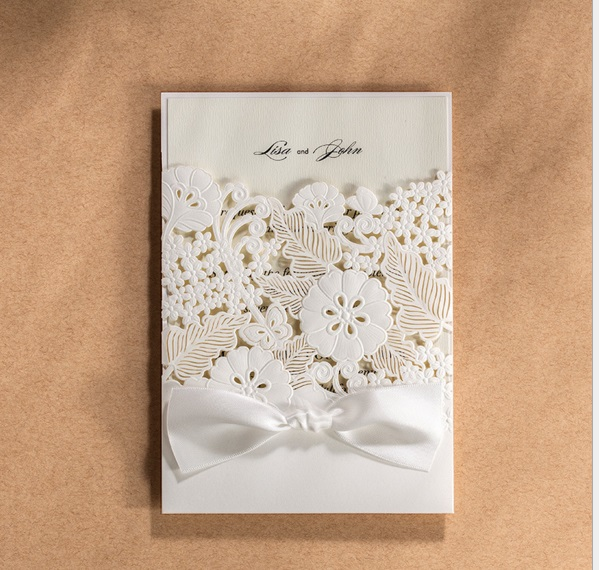 50pcs Wishmade Cw5179 White Lace Hollow Flower Laser Wedding Invitation Card With One Page Inner Sheet Envelope In Cards Invitations From Home Garden On