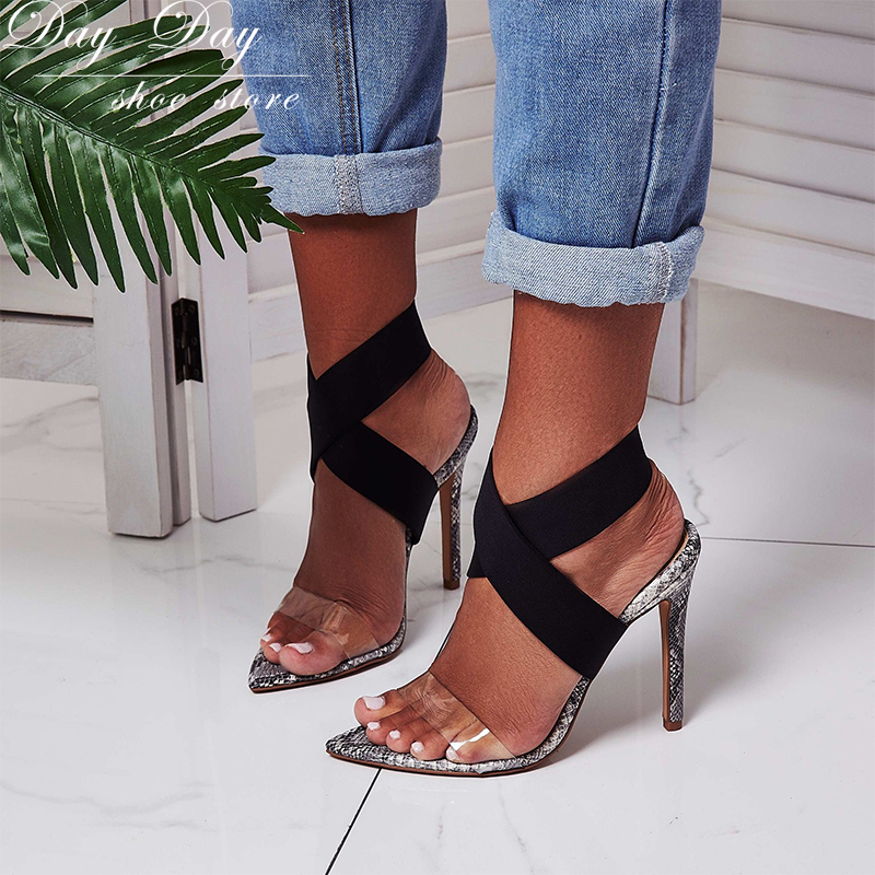 8a68ca385ce Sandals Female Summer 2018 Snakeskin Pattern Elastic Band High-Heeled Pumps  Sexy Party Ladies Shoes Stiletto Women's Sandals