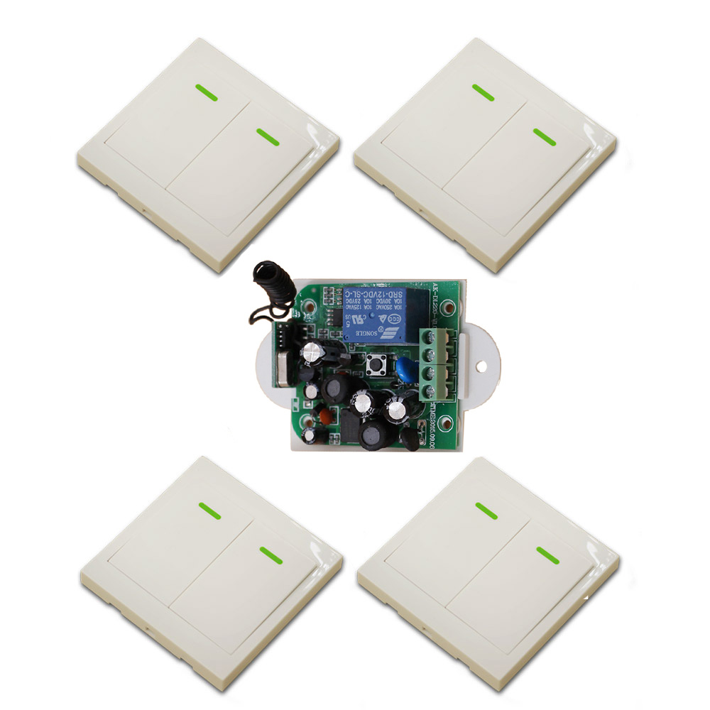 New AC85V 110V 120V 220V 250V 1CH Wireless Remote Control Switch System Receiver & 4pcs Wall Panel Sticky Remote 315/433mhz new restaurant equipment wireless buzzer calling system 25pcs table bell with 4 waiter pager receiver