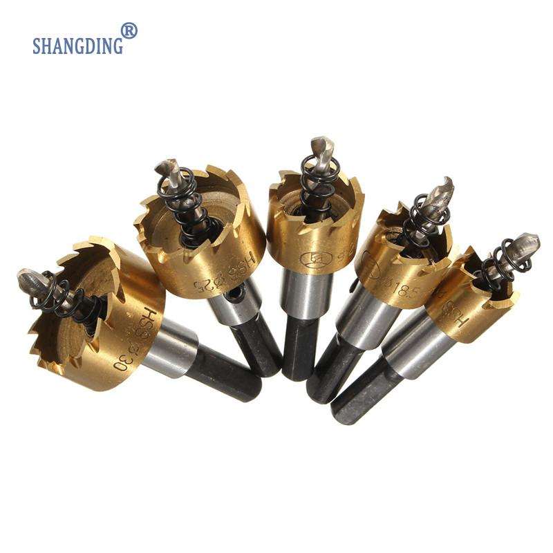 New Arrival 5PCs/set HSS Drill Bit Hole Saw Set Stainless Steel Metal Alloy Cutter 16-30mm Wholesale Price stones bricks concrete cement stone 50mm wall hole saw drill bit 200mm round rod