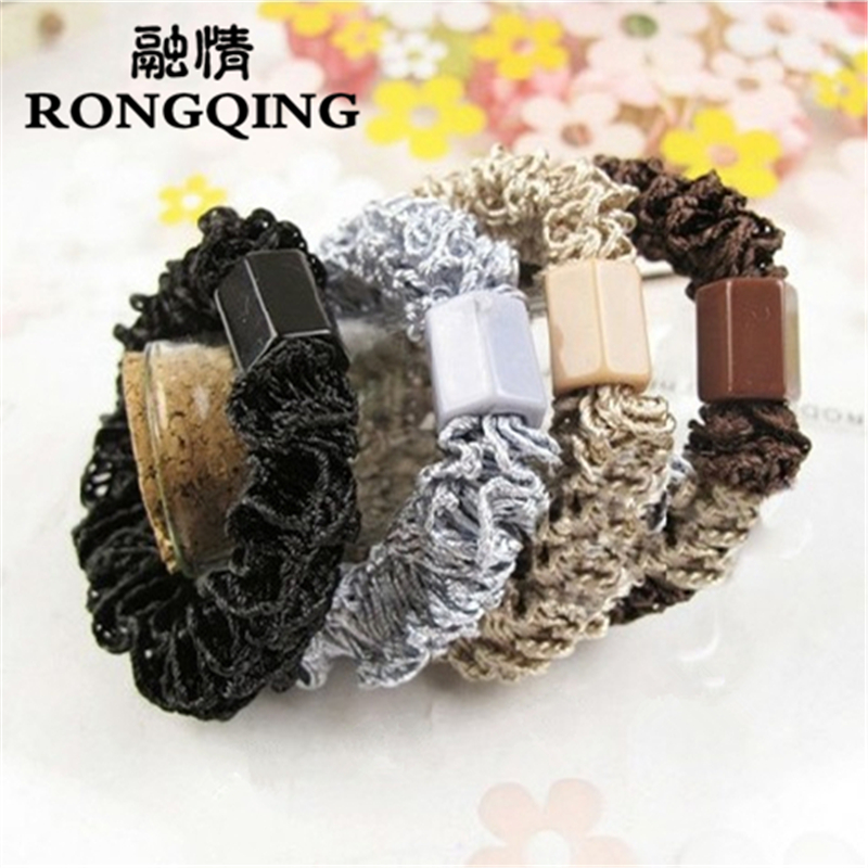 RONGQING 100pcs/lot Colour random delivery Mixed wholesale Lace Cloth Weave Hair jewelry for women