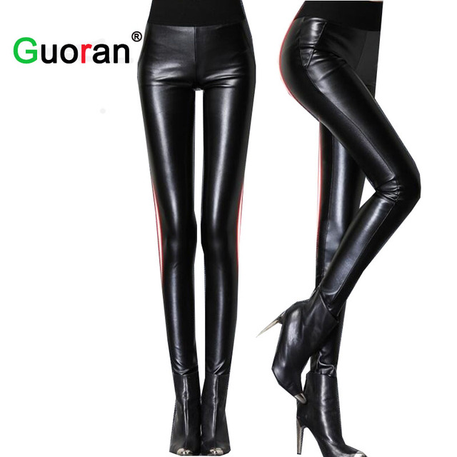 4a8eb9f54261b  Guoran  2018 Femmes Taille Haute Pantalon En Cuir Stretch Maigre Chaud  Sexy PU En