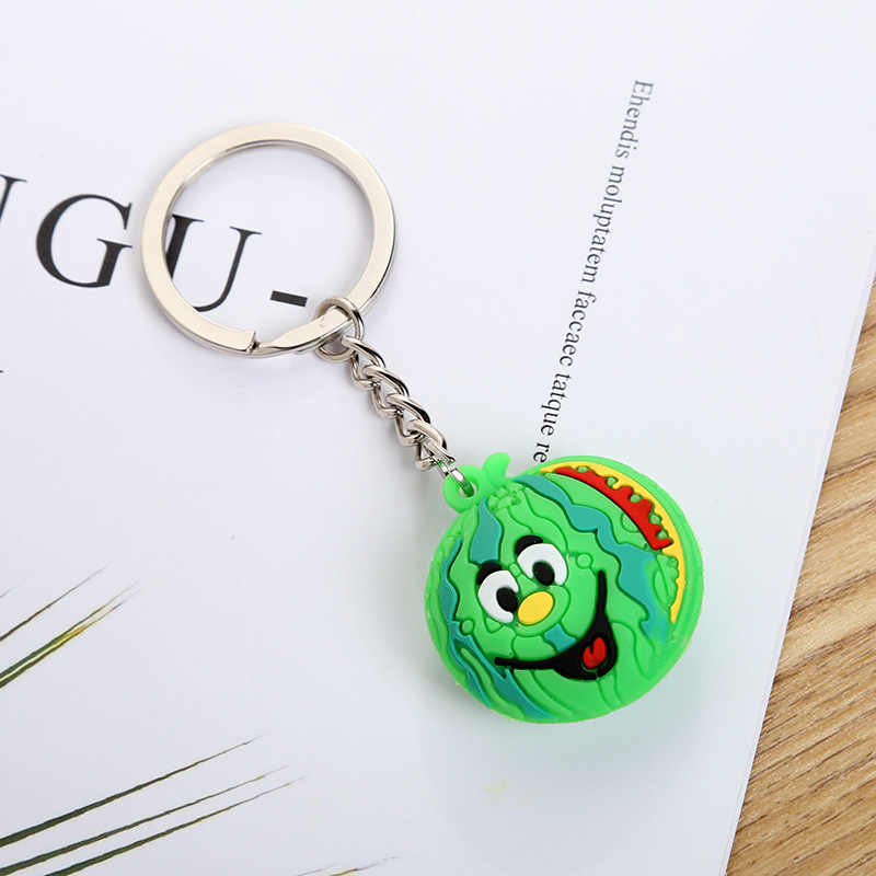 Coreia do novo bonito PVC chaveiro Frutas Dos Desenhos Animados mulheres anel chave anel chave do carro dom Pingente charme bag crianças Estudante
