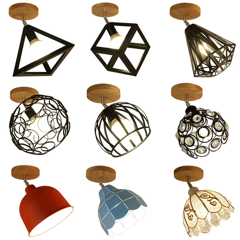6PCS Fanlive E27 Iron 5W Iron Ceiling Lamp Shade Pendant Light Covers and Shades Triangle Metal Ceiling Lampshades