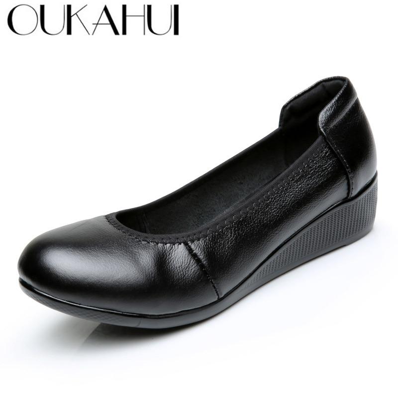 OUKAHUI Summer Black Wedges Heel 4cm