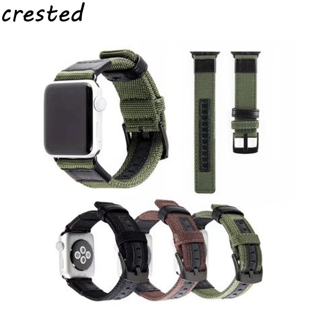 купить CRESTED Genuine Leather nylon strap for apple watch band 42mm 38mm watch accessories bracelet watchband for iwatch series 3/2/1 по цене 815.84 рублей