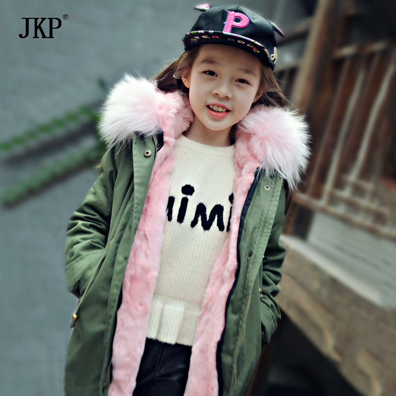 Children Army Coat Kids Real Raccoon collar Fur Jacket outdoor Parkas army green Rex rabbit fur hooded Jacket for Girl