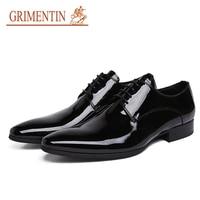 Бренд grimentin мужские строгие туфли 2019 Новые Натуральная кожа удобные черные итальянская мужская обувь для модная мужская Свадебная обувь