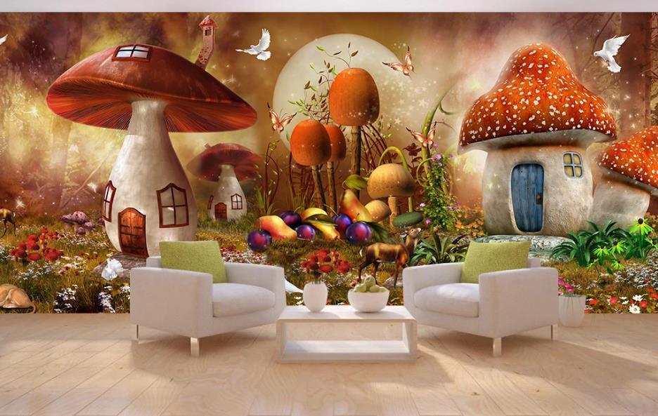 Custom wallpaper murals super beautiful fantasy fairy mushroom house forest full house custom background wall