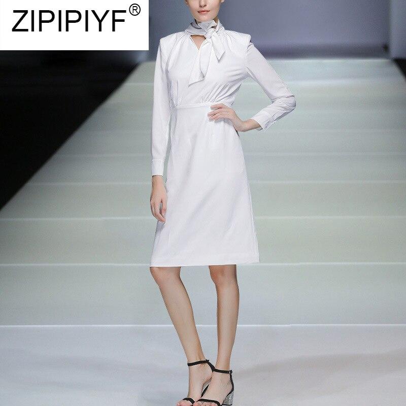 High Quality Autumn Fashion Women Dress 18 New Solid Long Sleeve Bow Collar Elegant Knee-Length Dresses Vestidos C2361 3