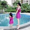2016 Новая Мода Соответствующие Мать Дочь Одежда Летнее Платье Шифон Слинг Принцесса Мама и Дочь Платье Vestidos Infantis