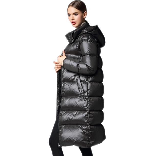 Plus Tamaño de Invierno de Las Mujeres Espesar Con Capucha de Down Jacket Coat Medio Largo Mujeres Lleno de Pato Blanco Abajo Parkas Cálido Outwear