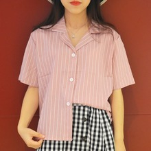 Female Notched Collar Shirts Casual Loose Slim Female Daily Tops Blusas Summer Women Striped Blouse Short Sleeve Shirt