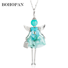 Angle Doll Necklace For Women Sequin Bow Dress Silver Metal Wing Cute Figure Pendant Girl Jewelry Sweater Chain