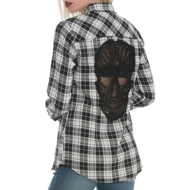 Skull Back Hollow Out Women Blouses Long Sleeve Plaid