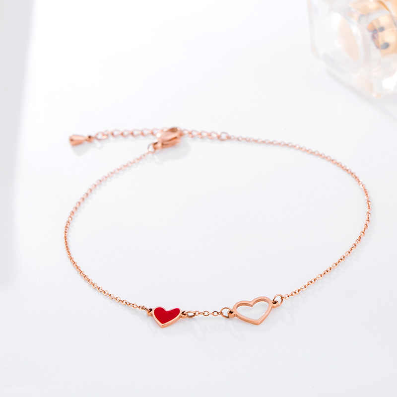 YUN RUO Fashion Chic Red Heart Anklet Chain For Woman Girl Birthday Gift Rose Gold Color 316L Stainless Steel Jewelry Not Fade