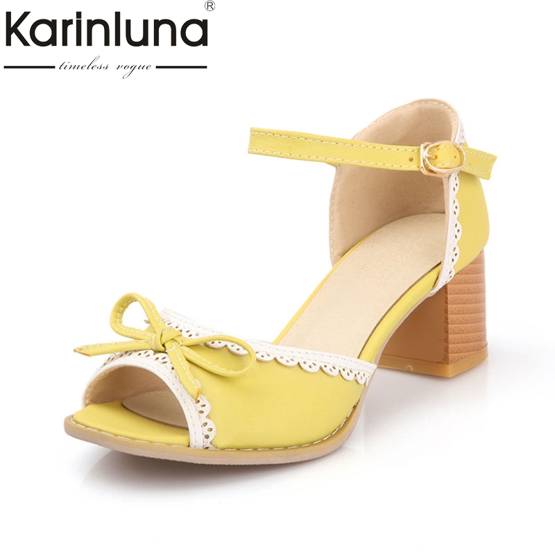 KarinLuna New Summer Sweet Concise Women Sandals Bow Knot Med Heels Shoes Woman Big Size 33-43 Flow Edges Footwear bonjomarisa 2018 summer sweet concise women sandals big size 33 43 fashion beading bow shoes woman low chunky heels women shoes
