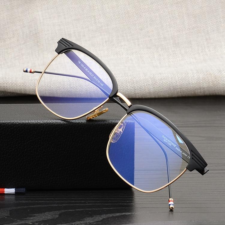 Thom marca de alta qualidade quadrado de metal armações de óculos de Olho  para homens e mulheres simples revestido de viagem óculos de sol de pesca  TB104 ... 3fb2d86396