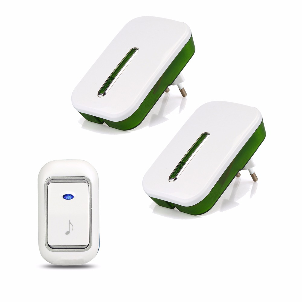 Wireless Doorbell Chime Kit 51 Chimes Remote Button with Receiver LED Indicator for Home F1762B wireless pager system 433 92mhz wireless restaurant table buzzer with monitor and watch receiver 3 display 42 call button