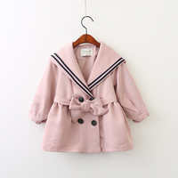 Children Bow Sashes Outerwear Preppy Style Clothing Spring Autumn Fashion Baby Kids Jackets Solid Girls Button