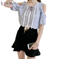 ICHOIX Women Summer Tassel Tops Fashionable Strapless Ruffles Femme Clothing 2017 Casual Patchwork Lace Up Ladies