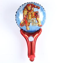 1pcs/lot Avengers balloons iron Man foil balloon Birthday Party decorations kids hand hold stick inflatable globos gift toys(China)