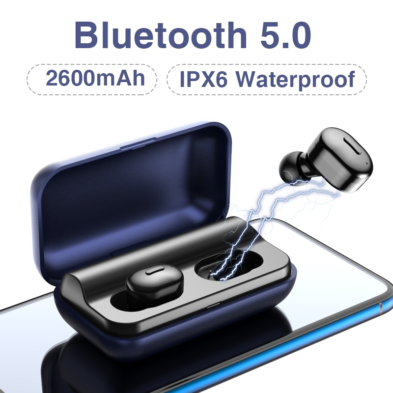 <font><b>T1</b></font> <font><b>TWS</b></font> Bluetooth Earphones 5.0 <font><b>TWS</b></font> Mini Wireless Headset <font><b>T1</b></font> 5D Stereo Earphone with charging box 2600 mAh Power bank image