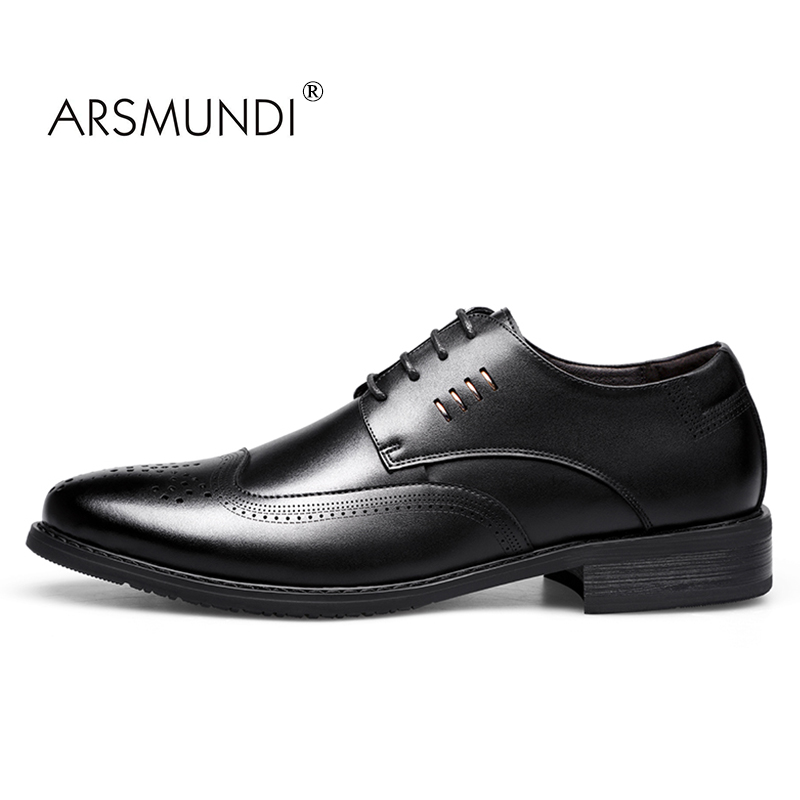 ARSMUNDI Men Brogue Shoes Business Genuine Leather Fashion Business Dress Shoes 2017 Lace Up Men Formal Casual Shoes TS-7808