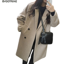 Han Edition Big Yards Loose Cloth Jacket Coat Women 2017Autumn Winter New Add Cotton Medium Style