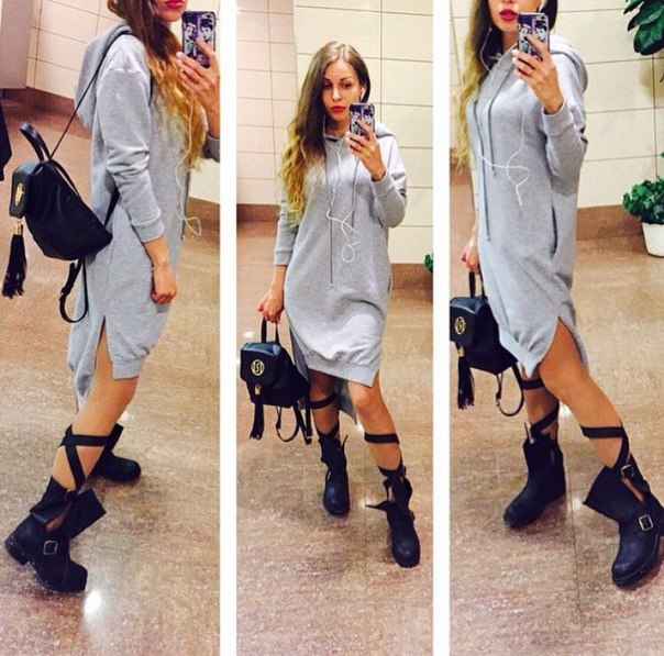 Autumn 2015 Fasion Irregular Sweatshirt Dress Plus Size Loose Cotton Women  Sweatshirt Grey Long Sleeve Hooded Lace Hoodies Women-in Hoodies    Sweatshirts ... ed6f4b201c