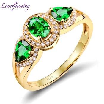 Vintage 1.08 karat yeşil Tsavorite yüzük, nişan yüzük Tsavorite elmas 14K sarı altın satılık WU144