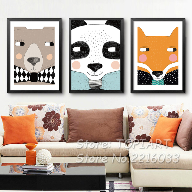 Canvas Art Cute Animals Prints Nursery Baby Bedroom Animated Panda Fox Wall  Pictures Decor Poster Kids