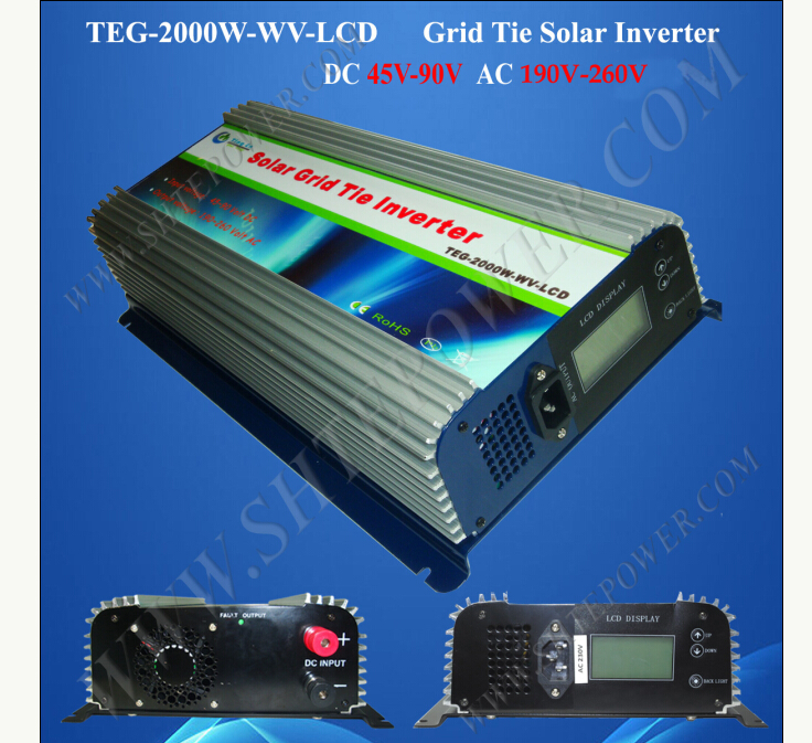 220V grid tie inverter, on grid tie solar power inverter 2000W, 48V to 220V micro inverters on grid tie with mppt function 600w home solar system dc22 50v input to ac output for countries standard use