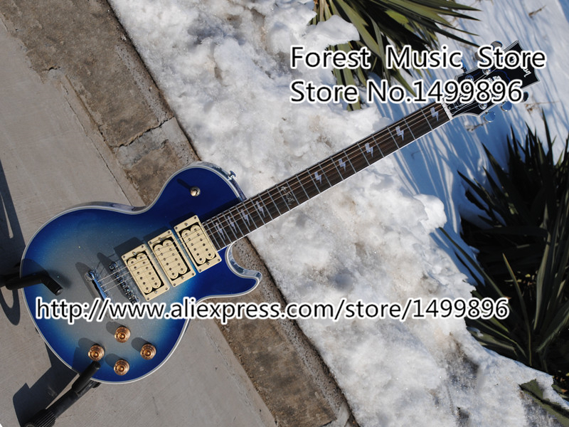 Top Selling Ace Frehley Vintage Sky Blue Dusty LP Custom Electric China Guitar Three Pickups Guitarra Lefty Available newest arrival best prices ace frehley budokan signature electric guitar lp in stock for sale